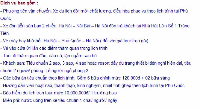 Dịch vụ bao gồm trong Tour Hà Nội Phú Quốc 4 ngày 3 đêm