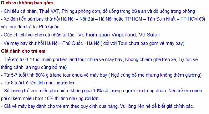 Dịch vụ không bao gồm trong Tour Hà Nội Phú Quốc 4 ngày 3 đêm