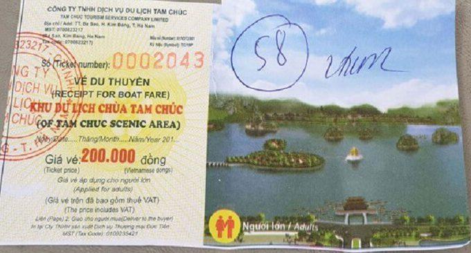 Giá vé tàu thủy chùa Tam Chúc