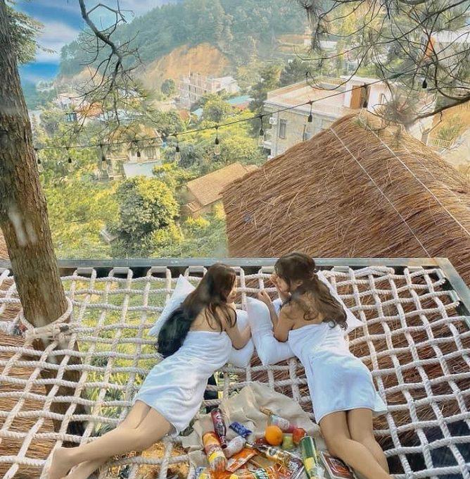 nhà cây 2 gian có giường lưới poko tam đảo