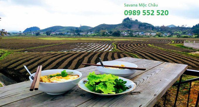 thưởng thức ẩm thực tại Savana Mộc Châu