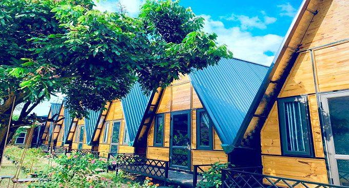 khu nhà gỗ ở homestay Bình Huy